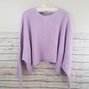Free People Oversized Lavender Cropped Sweater